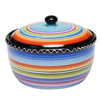 Certified International Tequila Sunrise Bean 2-Qt. Durable Stoneware Round Dutch Oven with Lid