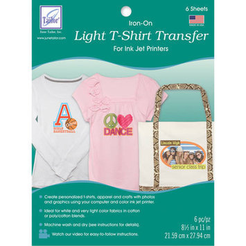 June Tailor Light T Shirt Iron On Ink Jet Transfer Sheets 8.5inX11in 6/Pkg