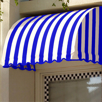 Awntech 5-ft 4-1/2-in Wide x 2-ft Projection Navy/Gray/White Striped Waterfall Window/Door Awning RS22-5NW