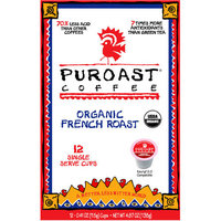 Puroast Coffee Organic French Roast Coffee Single Serve Cups, 0.41 oz, 12 count