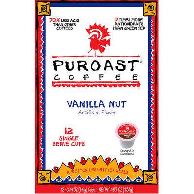 Puroast Coffee Vanilla Nut Coffee Single Serve Cups, 0.41 oz, 12 count