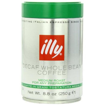 Illycaffe Illy Caffe Decaffeinated Whole Bean Coffee (Medium Roast Green Top) 8.8-Ounce Tins (Pack Of 6)