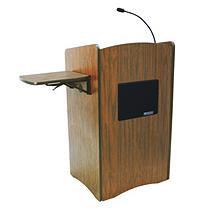AmpliVox SS3230 Multimedia Computer Lectern with Sound, Medium Oak