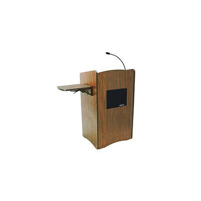 AmpliVox SS3230 Multimedia Computer Lectern with Sound, Medium Oak