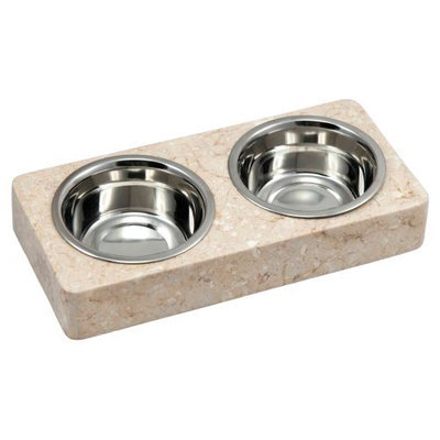 Creative Home Marble Double Round Corners 2 qt. Pet Dish