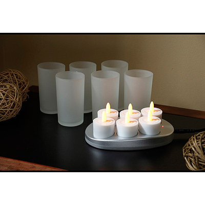 Mr. Light 98806-H Set of 6 Restaurant Quality Rechargeable Flickering Amber Flameless Tealights