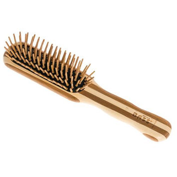 BASS BRUSHES NEW Striped Bamboo Professional Style Wood Bristle Style Hair Brush