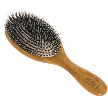 BASS BRUSHES NEW Natural Wood Large Oval Cushion Boar/Nylon Bristle Hair Brush