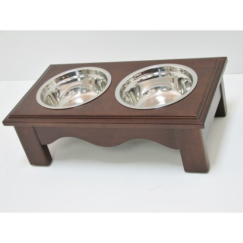 Crown Pet Products Inc Crown Pet Elevated Double Pet Diner Chesnut LG