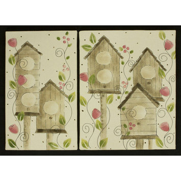 Cotton Tale Raspberry Dot Wall Art with 2 Piece