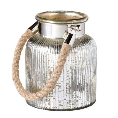 Mwcbk Small Mercury Glass Lantern With Rope Handle.