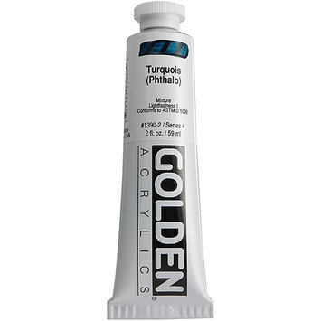 Golden 0001390-2 2oz. Heavy Body Acrylic Paint- Turquoise - Phthalo