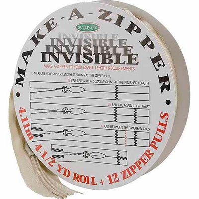 Sullivans Make-A-Zipper Kit Invisible, 4-1/2 yds