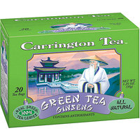 Carrington Tea Green Tea with Ginseng Tea Bags, 20 count per box, 1.25 oz, Pack of 6