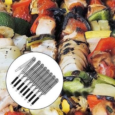 8 Chefmate Kabob Baskets Nonstick Long Handle BBQ Meat Veggies Shish Kebab Grill