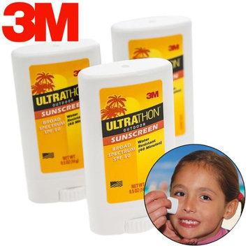 3 Ultrathon 3M Sunscreen SPF 50 Broad Spectrum Face Stick Water Resistant .5 Oz