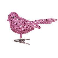 Oddity, Inc. Oddity Inc. 615 5 in. Light Pink Glitter Clip On Bird - Case of 12
