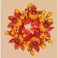 Oddity, Inc. Oddity Inc. 30122 2 in. Mini Pumpkins and Fall Leaves Candle Ring - Pack of 4