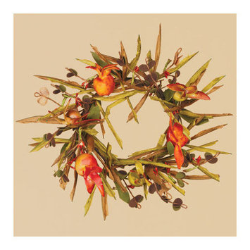Oddity, Inc. Oddity Inc. 39988 3 in. Fall Grass Pomegranate Candle Ring - Pack of 2