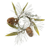 Oddity, Inc. Oddity Inc. 42217 2 in. White Silver Pine Berry Cone Leaf Candle Ring - Pack of 4