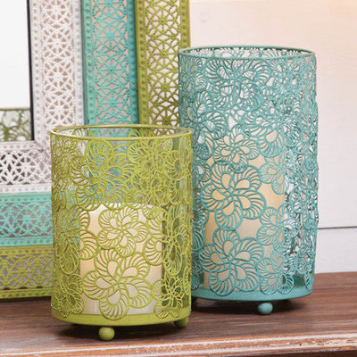Evergreen Enterprises 8CHM047 Blue and Green Pierced Metal Candle Holders