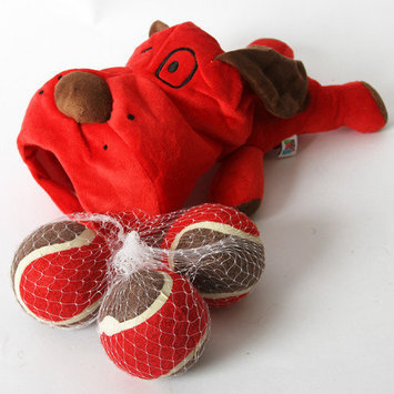 Dei Lucky Dog Plush Pooch with 3 Tennis Balls Color: Red
