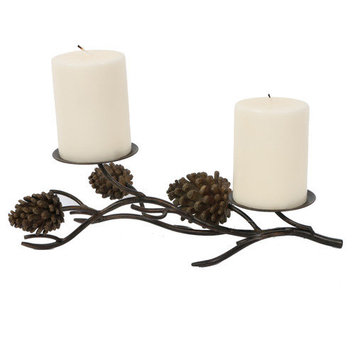 Dei Pinecone Lodge Rustic Candle Pillar for 2 Candles