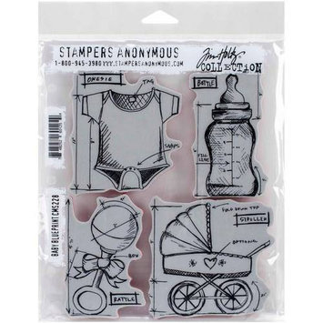 Stampers Anonymous Tim Holtz Cling Rubber Stamp Set 7inX8.5inRobots Blueprint