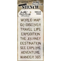 Stampers Anonymous Tim Holtz Layered Stencil 4.125X8.5-Travelers
