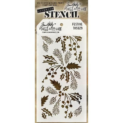 Stampers Anonymous Tim Holtz Layered Stencil 4.125X8.5-Festive