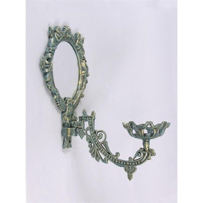 Aa Importing Angel Motif Cast Iron Wall Sconce Candle Holder w Mirror