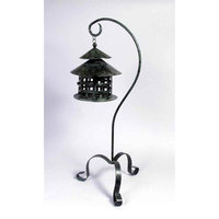 Aa Importing Metal Lantern Candle Holder w Stand in Dark Green Finish