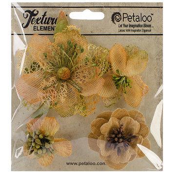 Petaloo Mixed Textured Blossoms 4/Pkg-Moss Green