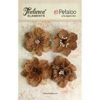 Petaloo Textured Elements Burlap Blossoms 4/Pkg-Apricot