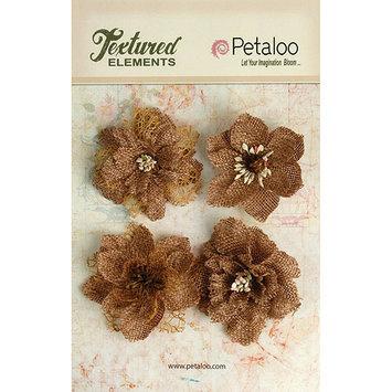 Petaloo P1200-000 Textured Elements Burlap Blossoms 4-Pkg-Natural