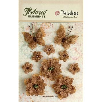Petaloo P1201-000 Textured Elements Burlap Blossoms Flowers-Butterflies 10-Pkg-Natural