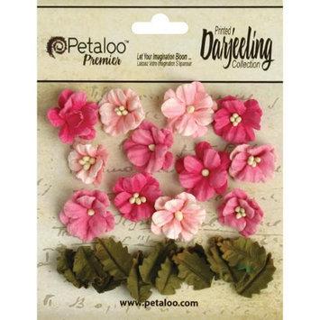 Petaloo Darjeeling Teastained Petite Flowers .625 & .875 24/Pkg-Pink