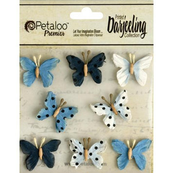 Petaloo Darjeeling Teastained Mini Butterflies 8/Pkg-Blue
