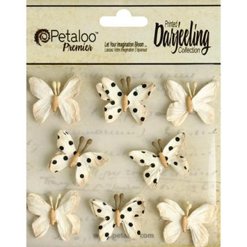 Petaloo Darjeeling Teastained Mini Butterflies 8/Pkg-Cream