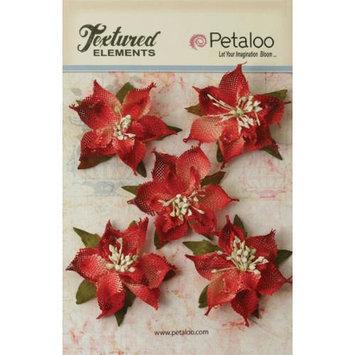 Petaloo Textured Elements Burlap Poinsettias 2.5