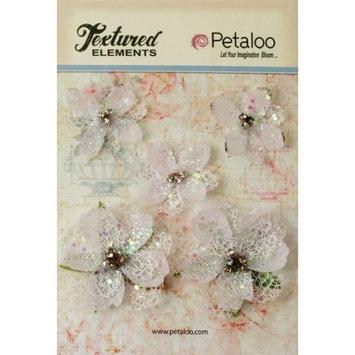 Petaloo Textured Elements Jeweled Flowers 5/Pkg-White