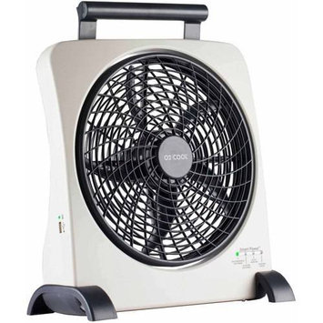 O2 Cool Fd10006au Portable Fan - 10 Diameter - 2 Speed - Carrying Handle, Adjustable Tilt Head, USB Charging Port - Gray (fd10006au 2 1)