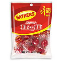 Sathers Atomic Fireballs - 2.15 oz. Bag - 12 ct.