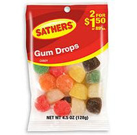 Sathers Gum Drops - 4.5 oz. Bag - 12 ct.