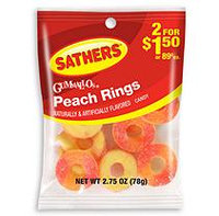 Sathers Peach Rings - 2.75 oz. Bag - 12 ct.