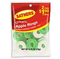 Sathers Gummi Apple Rings - 2.75 oz. Bag - 12 ct.
