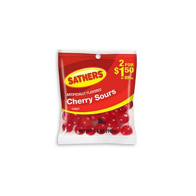 Sathers Cherry Sours - 3.6 oz. Bag - 12 ct.