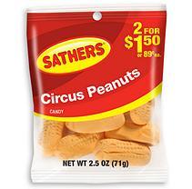 Sathers Circus Peanuts - 2.5 oz. Bag - 12 ct.