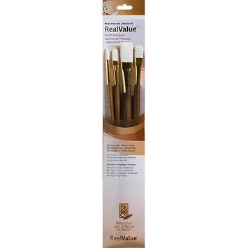 Princeton RealValue Brush Sets, White Taklon, Long Handle, Set of 4