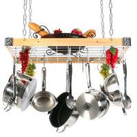 Rogar International Corp. 4156 - Gourmet Rectangle Wood/Metal Pot Rack